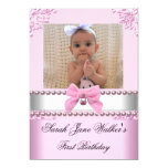 1st Birthday Girl Pink White Pearl Photo First 5x7 Paper Invitation Card