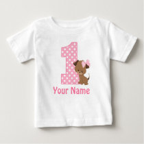 1st Birthday Girl Puppy Personalized T Shirt