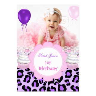 1st Birthday Girl Purple Cupcake Baby Leopard Cards