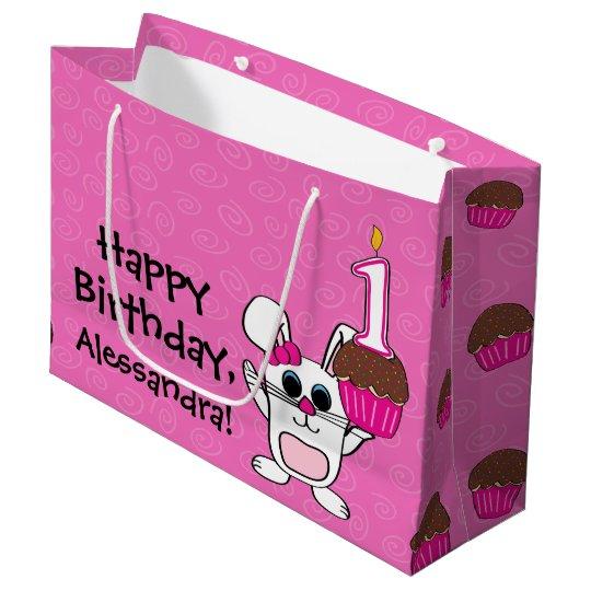 1st Birthday Girl Rabbit Cupcake Large Gift Bag