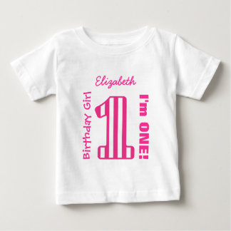 1st Birthday Girl STRIPED One Year Custom V03F Baby T-Shirt