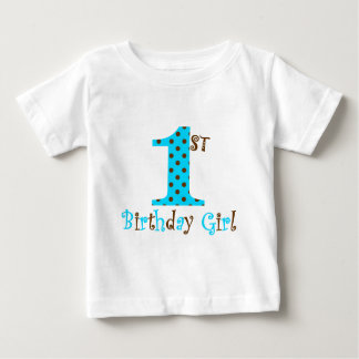 1st Birthday Girl Teal and Brown Polka Dot Baby T-Shirt