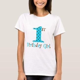 1st Birthday Girl Teal and Brown Polka Dot T-Shirt