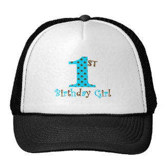 1st Birthday Girl Teal and Brown Polka Dot Trucker Hat