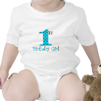 1st Birthday Girl Teal and Brown Polka Dot Rompers