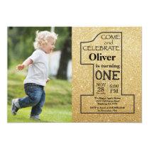 1st Birthday Gold Glitter and Black Photo Invitation