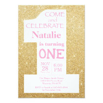 1st Birthday Gold Glitter and Pink Invitation