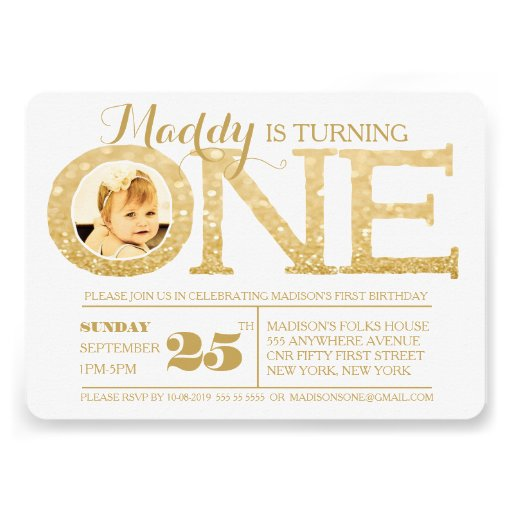 "1st Birthday Gold Glitter One Photo Invitation 5"" X 7"
