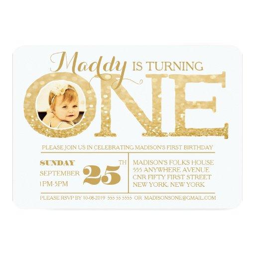 1st Birthday Gold Glitter One Photo Invitation Personalized Invitations