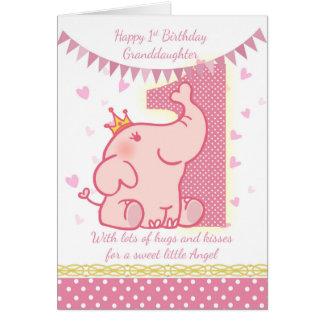 1st Birthday Granddaughter, Pink Elephant Card