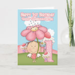 """1st Birthday - Great Granddaughter - Greeting Card<br><div class=""""desc"""">A sweet little Garden Fairy with her big umbrella pink daisy and lots of little flowers in the background,  a sweet little graphic that will bring a smile to any fairy lovers face. Original Graphics Primsy Doddles@etsy.com</div>"""