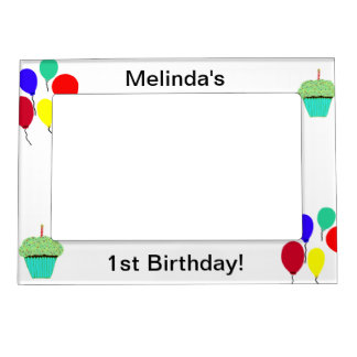 1st Birthday Green Cupcakes & Colorful Balloons Magnetic Frame