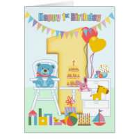 1st birthday cards greeting photo cards zazzle 1st birthday greeting card happy first birthday bookmarktalkfo Choice Image