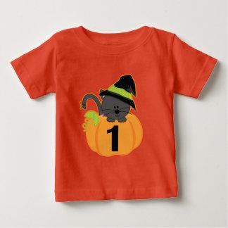 1st Birthday Halloween Pumpkin Cat T-shirt