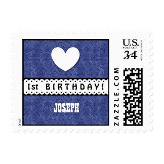 1st Birthday Heart Scalloped Ribbon Royal Blue G5Z Postage Stamp