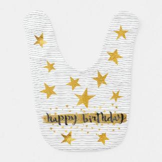 1st Birthday Hollywood Star Shiny  Gold Baby Bib