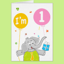 1st Birthday I am 1 Years Old Card
