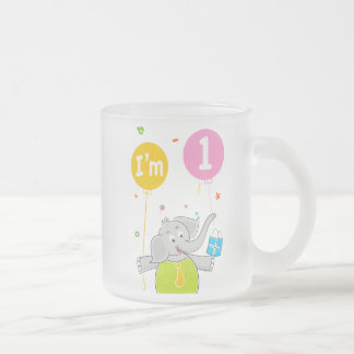 1st Birthday I am 1 Years Old Frosted Glass Coffee Mug
