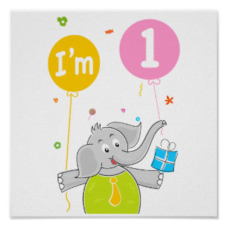 1st Birthday I am 1 Years Old Poster