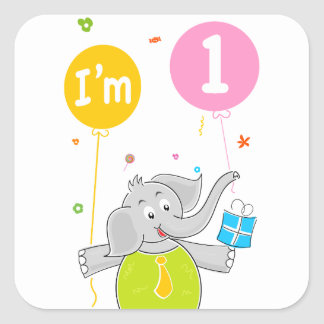 1st Birthday I am 1 Years Old Square Sticker