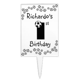 1st Birthday in Soccer Black and White Cake Topper