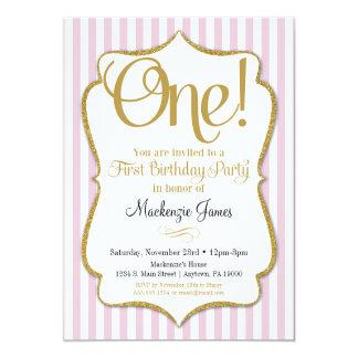 1st Birthday Invitation Girls First Pink Gold