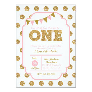 1st Birthday Invitation - pink and gold polka dots at Zazzle