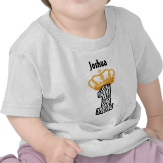 1st Birthday King Crown Zebra One Year Old 3 Shirts