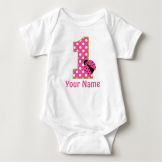 1st Birthday Ladybug Pink Green Personalized Shirt
