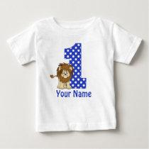 1st Birthday Lion Blue Personalized Shirt