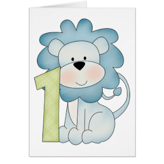 1st Birthday Lion Greeting Card