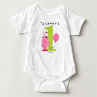 1st Birthday Little Monster Pink Tshirts