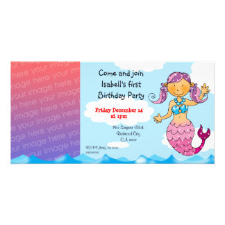 1st birthday mermaid girl party personalized card