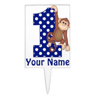 1st Birthday Monkey Blue Personalized Cake Topper