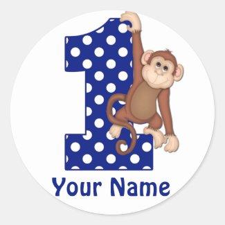 1st Birthday Monkey Blue Sicker Classic Round Sticker
