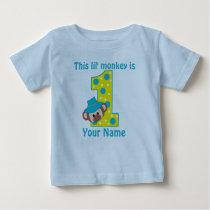 1st Birthday Monkey Boy Personalzied T-shirt