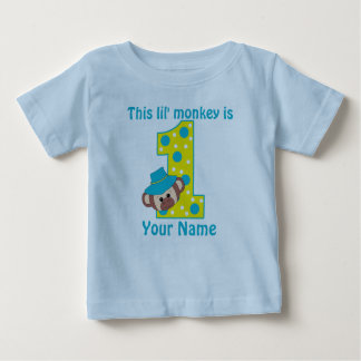1st Birthday Monkey Boy Personalzied T-shirt
