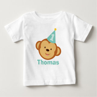 1st Birthday Monkey Boy with Personalized Name T Shirt