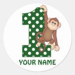 1st Birthday Monkey Personalized Sticker