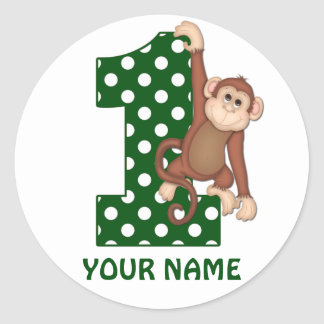 1st Birthday Monkey Personalized Sticker