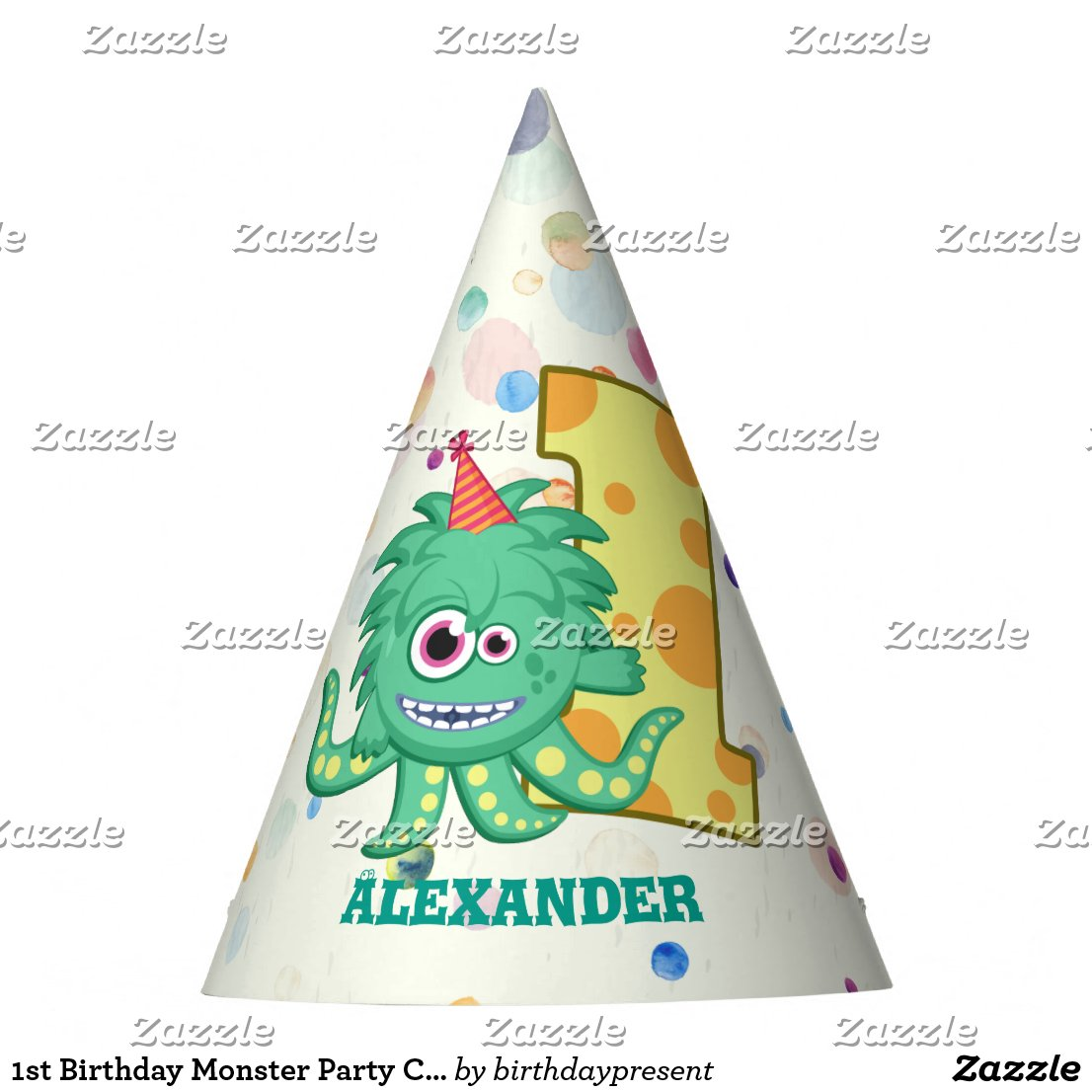 1st Birthday Monster Party Custom Party Hat