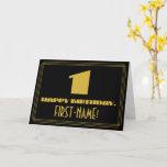 "[ Thumbnail: 1st Birthday: Name + Art Deco Inspired Look ""1"" Card ]"