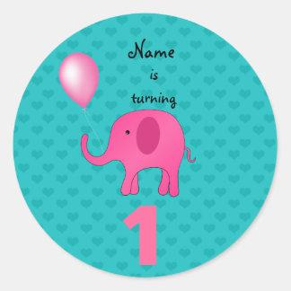 1st Birthday name elephant turquoise hearts Round Sticker