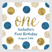 1st Birthday-Navy and Gold Glitter Square Sticker