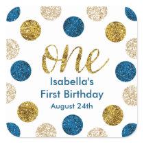 1st Birthday-Navy and Gold Glitter Square Sticker