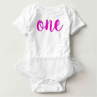 1st Birthday One Girl's Baby Bodysuit Pink