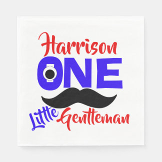 1st Birthday One Little Gentleman Personalized Napkin