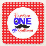 1st Birthday One Little Gentleman Personalized Square Paper Coaster