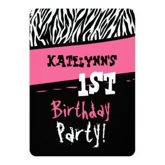 1st Birthday One Year Girl Pink Black White Zebra 5x7 Paper Invitation Card