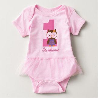 1st Birthday Owl Custom Girls T-shirt